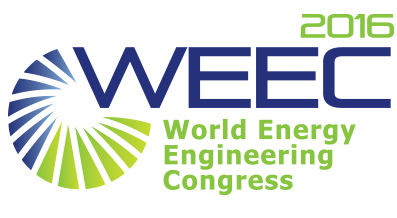 World Energy Engineering Congress Conference promotional image that has blue and green font with a circle design.