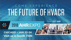 Blue banner promoting the AHR Expo in Chicago, Illinois that Delta Cooling Towers will be exhibiting our new Anti-Microbial Cooling Tower.