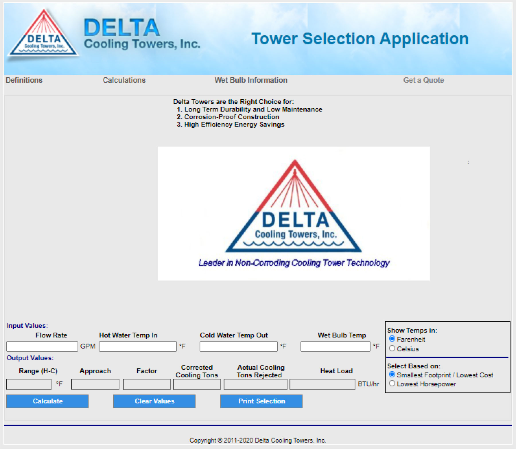 delta cooling towers tower selection application